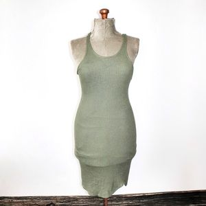 American Eagle Green Ribbed Racerback Dress